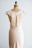 1930s Peach Pink Silk Bias Slip Gown - M