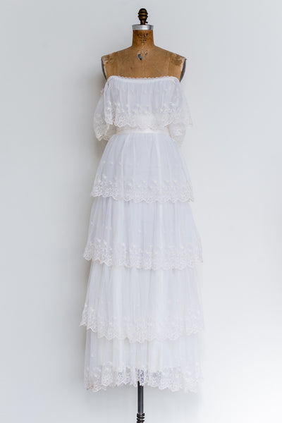 1970s Off-the-Shoulder Needle Lace Dress - S