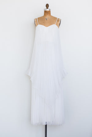 1970s Pleated Tiered Chiffon Maxi Dress - M