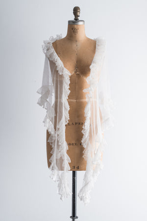 1920s Tulle Silk Shawl - One Size