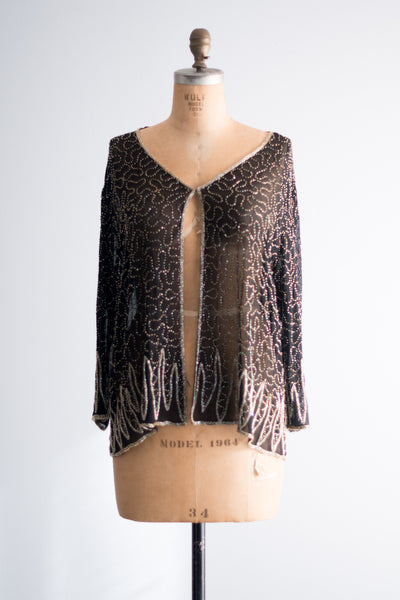 Vintage Sheer Black Silk Beaded Jacket - One Size