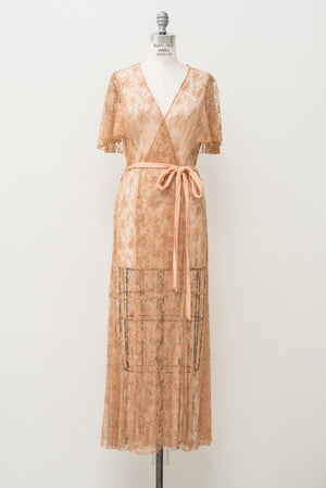 1930s Peach Needle Lace Dressing Gown  - S/M