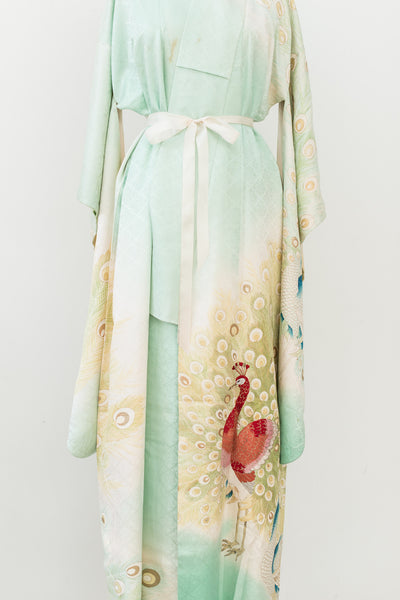 1940s Silk Light Mint Peacock and Floral Kimono - One Size