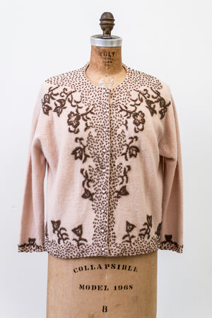1950s Rosy Taupe Cashmere Beaded Cardigan - M