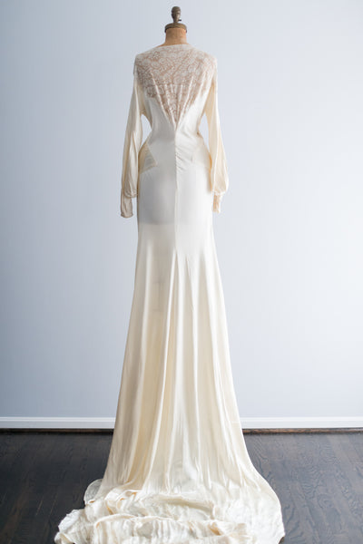 1930s Silk Satin and Lace Wedding Gown - S