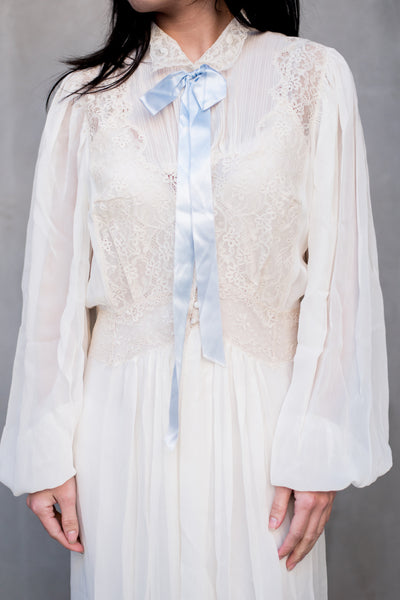 1940s Ivory Chiffon and Lace Dressing Gown - S