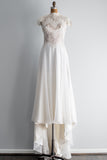 1970s Ivory Lace and Chiffon Wedding Gown - S/M
