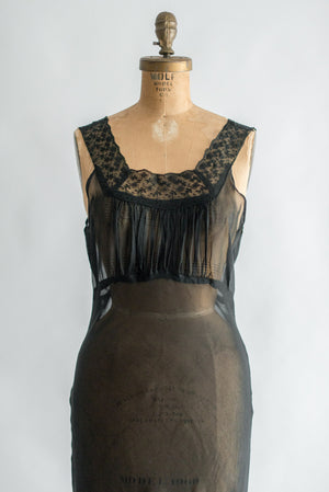 1930s Black Sheer Chiffon Slip - S/M
