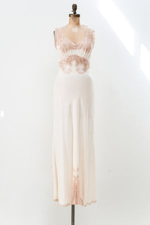 1930s Slip Gown with Lace Insert - S