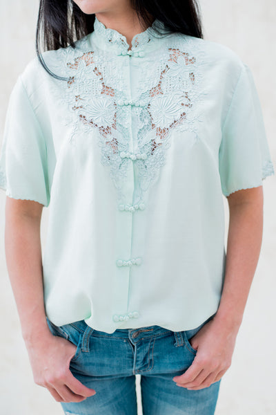 Vintage Cyan Embroidered Cutout Silk Blouse - S/M