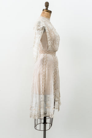 Antique Ivory Embroidered Cotton Dress - XS