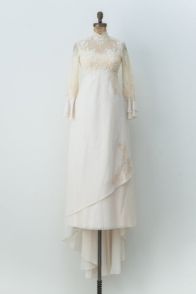 1970s Chiffon and Lace Gown - XXS