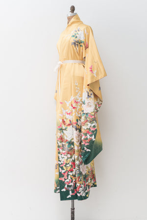Vintage Gold Silk Kimono with Floral - One Size