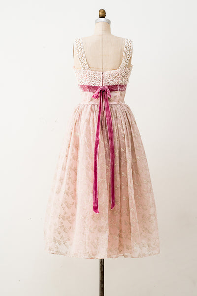 1950s Chiffon Velvet Burnout Dress - S