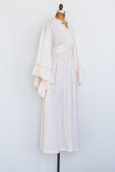 1970s Angel Sleeves Striped Maxi Dress - S/M