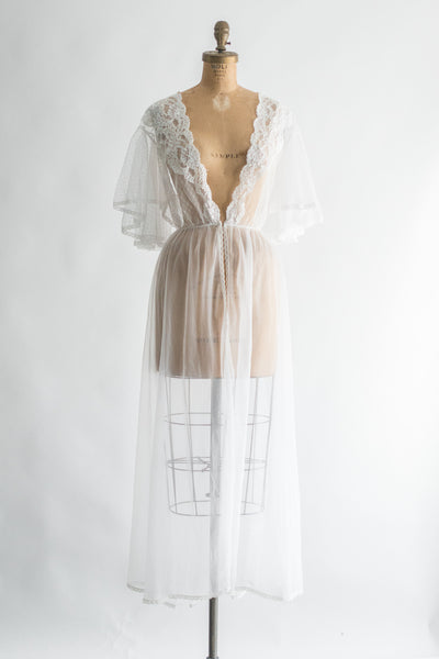 1950s Nylon Chiffon and Lace Dressing Robe - M/L