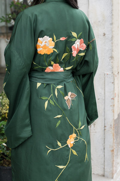 Vintage Silk Embroidered Forest Green Kimono - One Size