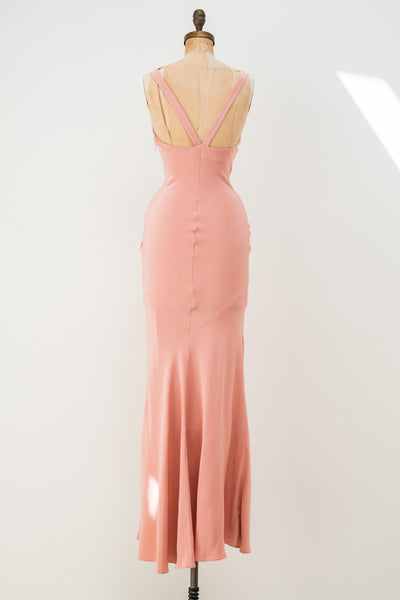 ROCHAS Light Coral Silk Crepe Bias Gown - XS