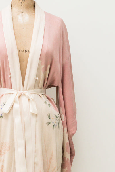 1920s Silk Crepe Pink Short Floral Kimono - One Size