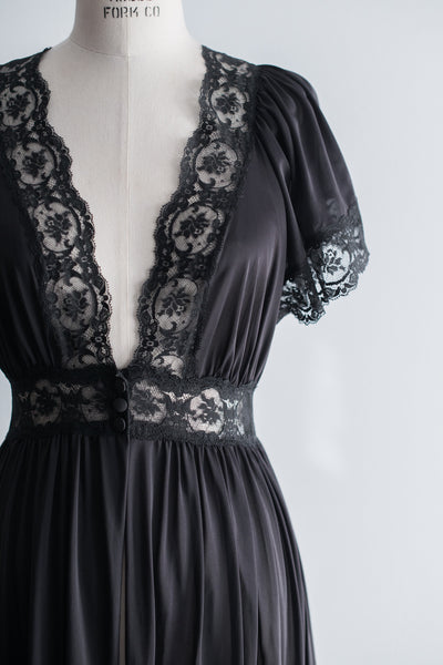 Vintage Black Nylon Lace Flutter Sleeve Dressing Gown -  S/M