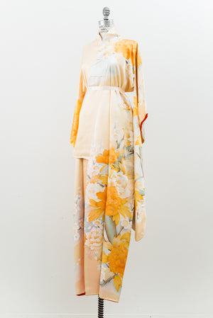 Vintage Silk Satin Orange and Ivory Kimono - One Size