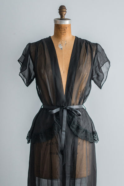 1950s Sheer Black Dressing Gown  - M/L