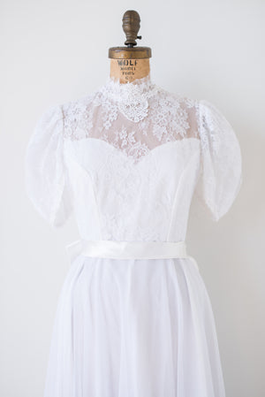 1970s Lace and Chiffon Gown - S