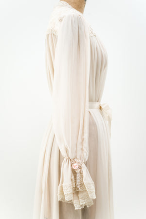 Vintage Silk Chiffon Dressing Gown - One Size