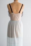 1950s Sheer Blue Pleated Nylon Slip - S