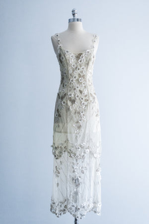 RESERVED 1980s Tulle Beaded Silk Flower Applique Dress - S