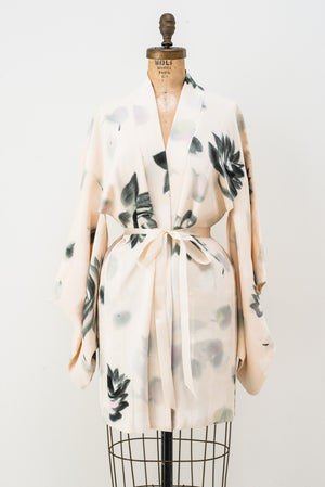 Vintage Ivory and Grey Silk Short Kimono - One Size