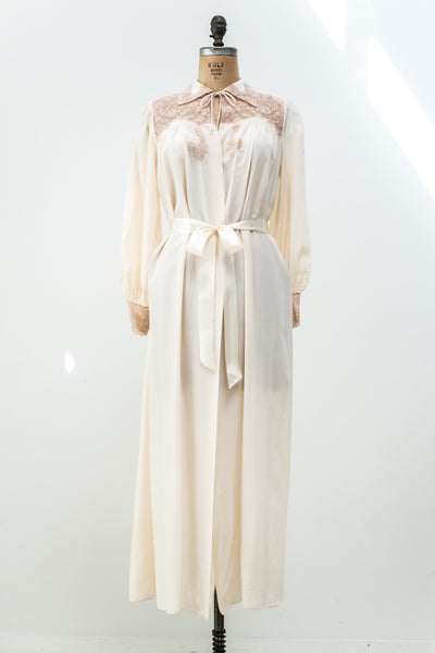1940s Ivory Satin Dressing Gown - M