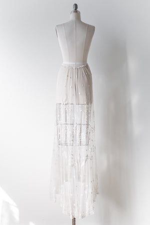 White Edwardian Tambour Skirt - S/M