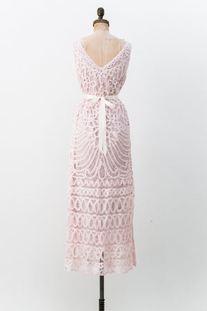 1980s Vintage Pink Battenburg Lace Gown - M