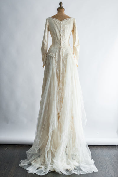 1940s/50s Lace and Satin Gown - S