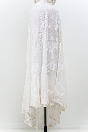 Rare Antique Lace Tambour Skirt - S