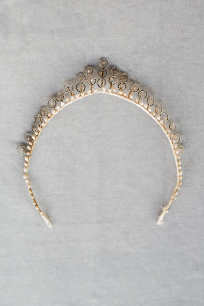 Antique Glass and Wax Tiara