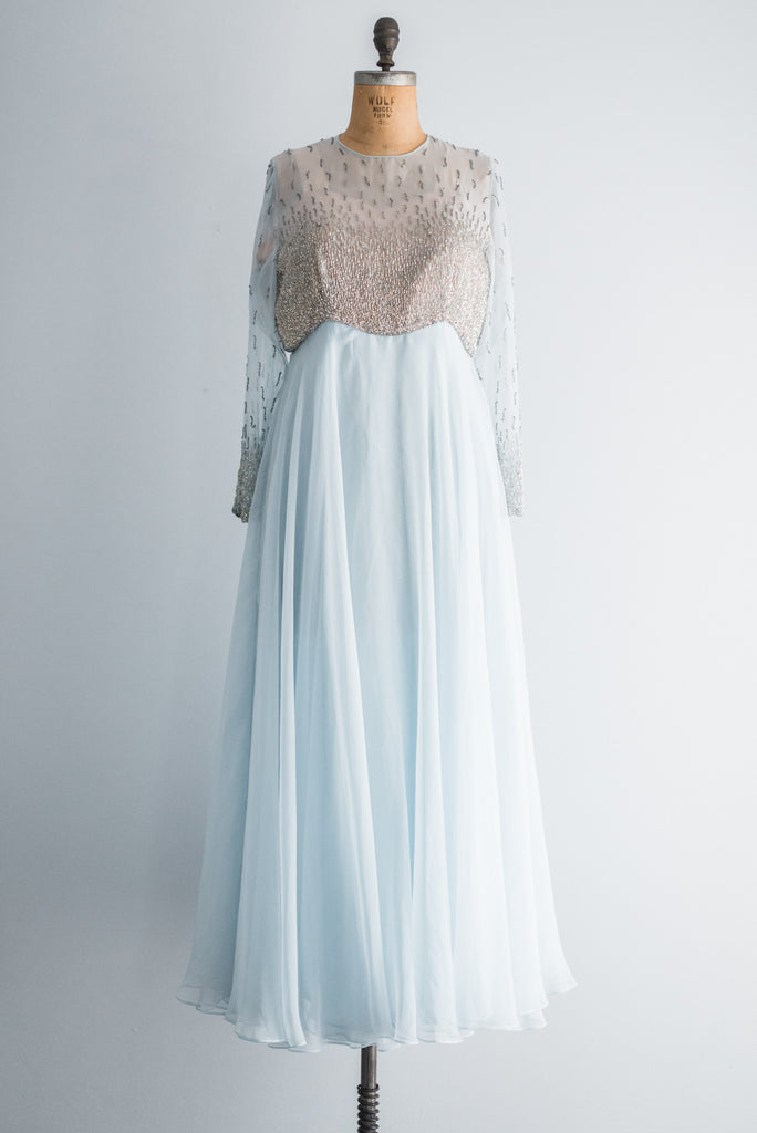 1960s Baby Blue Beaded Gown - M | G O S S A M E R
