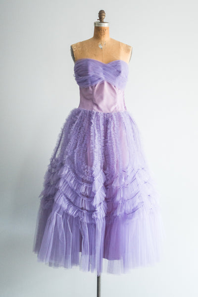 1950s Purple Tulle Dress - S/M