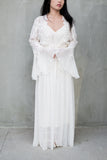 1980s White Chiffon Dressing Gown - S/M