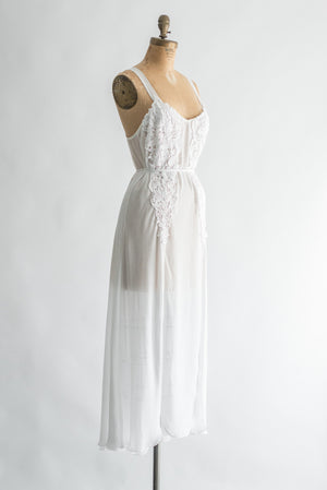 Vintage Chiffon and Embroidered Lace Slip - S/M