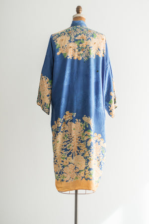 1920s Blue Floral Grossgrain Kimono - One Size
