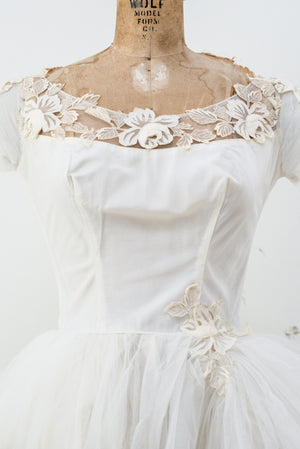 1950s Ivory Tulle Gown with Appliqué  - S