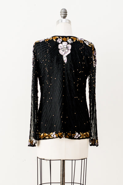 1980s Flowers Sequined Jacket - M/L
