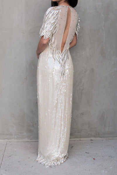 1980s Silk Creamed Sequins and Beaded Gown - M