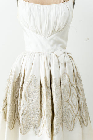 1950s Embroidered Brochade Tafetta Dress - S
