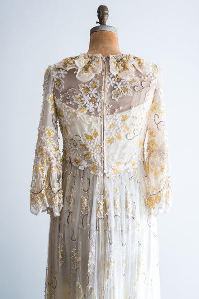 1970s Beaded Alfred Bosand Gown - M/L