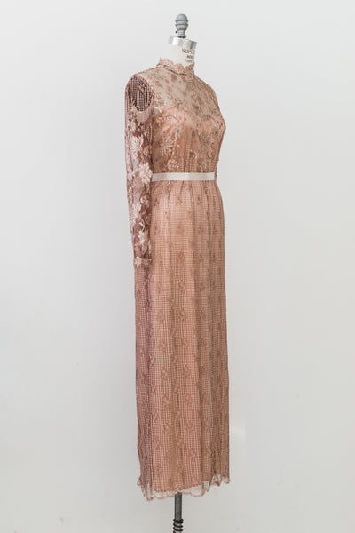 1980s Mauve Silk Lace Gown - M