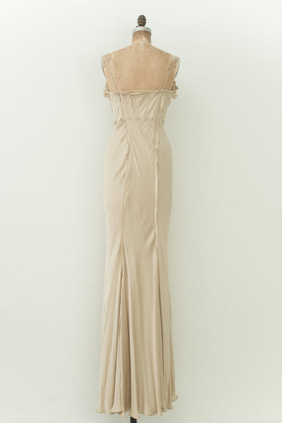 RENTAL Beige Silk Pleated Gown - S