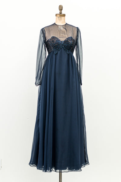 1960s Navy Chiffon Beaded Gown - XS/S